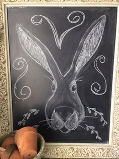 Rabbit chalkboard design