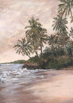 Landscape painting, in acrylic, of a tropical beach scene with palm trees and plants. Warm and natural colour palette with pinks, greens and peaches. Nature Color Palette, Pink Acrylics, Beach Scenes, Peaches, Mixed Media Art, Palm Trees, Landscape Paintings, Around The Worlds, Tropical