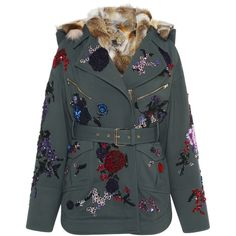Zuhair Murad Embroidered Wool Parka With Fur Lining ($5,450) ❤ liked on Polyvore featuring outerwear, coats, green wool coat, wool coat, embroidered coat, fur lined hooded coat and woolen coat