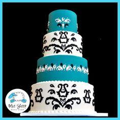 Turqoise & Damask Wedding Cake