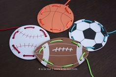 Lacing Card Busy Bags + Free Printable Labels for the sports party Sports Activities, Motor Activities, Preschool Age, Preschool Activities, Theme Sport, Printable Labels, Free Printable, Lacing Cards, Sport Craft
