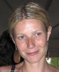 Gwyneth Paltrow without makeup or photoshop... if people would actually take a decent picture with a decent camera she would still look amazing! she doesn't as great in this picture but its because its a terrible angle and the flash is too hard. it just bothers me when people criticize celebrities looks without photoshop or makeup based on terrible pictures!