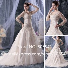 Luxury High Quality Elegant Ball Gown V-neck With Long Sleeve Beading Applique Champagne Organza Wedding Dress$249.99