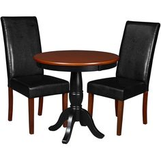 """Niche Mod 30"""" Round Pedestal Table 2 Tyler Dining Room Chairs,... ($424) ❤ liked on Polyvore featuring home, furniture, chairs, dining chairs, modern dining chairs, cherry wood dining chairs, modern kitchen chairs, black kitchen chairs and cherry wood dining set"""