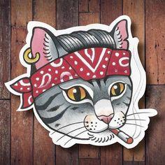 nice Geometric Tattoo - Gangsta cat tattoo old school Geometric Tattoo – Gangsta cat Old School Tattoo Designs, Cat Tattoo Designs, Tattoo School, Tattoo Gangsta, Wald Tattoo, Cat Ideas, Dessin Old School, Tattoo Minimaliste, Sailor Jerry Tattoos