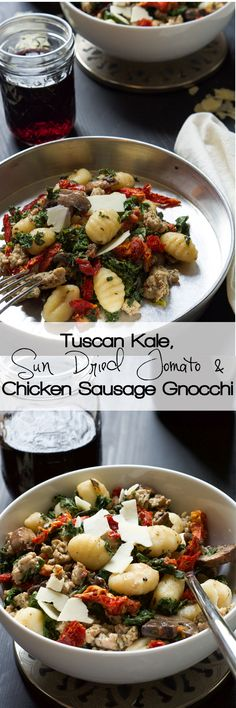 With only one pot, you can whip up this flavorful Tuscan Kale & Sun Dried Tomato Chicken Sausage Gnocchi dish! A family favorite in our house that is made time and time again! #pasta #glutenfree #chickensausage #kale