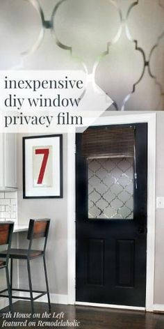 DIY Privacy Window with Contact Paper - free template! 7th House on the Left on @Remodelaholic #AllThingsWindows #privacy by bettie