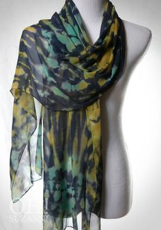 Lime Scarf with Fringe // Hand Dyed Shibori Scarf. by OhSuzanni