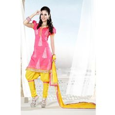 Elegant Designer Chanderi Cotton Embroidered Semi Stitched Suit D.NO S7013