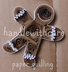 quilling christmas ginger man. Wouldn't this be adorable on red gingham (paper or fabric) background?
