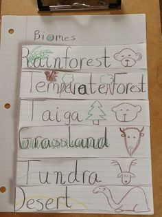 A foldable on biomes for the science notebook in ecosystems/ecology unit