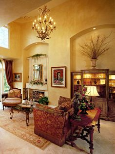 Tuscan living room with yellow walls and red accents