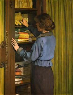 """huariqueje: """"  The Library - Felix Vallotton , 1915 Swiss, 1865 - 1925 Oil on canvas Musée cantonal des beaux-arts de Lausanne , Switzerland . """""""