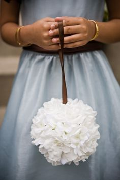 For flower girl to carry - this would be so easy and affordable to make!!! Styrofoam ball with fake flowers from Michaels