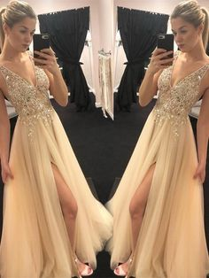 Elegant Prom Dress, A-Line V-neck Sleeveless Floor-Length With Beading Tulle Dresses Stay on trend with this beautiful prom dresses at Prom Dress Shop. Cheap Homecoming Dresses, Tulle Prom Dress, Junior Bridesmaid Dresses, Satin Dresses, Tulle Lace, Sleeveless Dresses, Formal Dresses, Short Dresses, Wedding Dresses