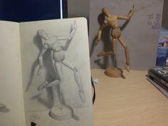 """""""What I Drew Today""""... My Drawing Journal: Little Manikin and cast shadow. ... a drawing exercises to do with my manikin. (loving this blog by a very talented artist!)"""