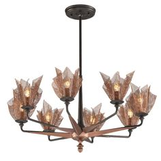 Copperfield Burnished Copper Eight-Light Medium Chandelier with Metal Mesh Shade