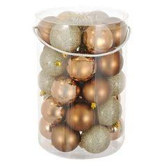 Σετ Χριστουγεννιάτικες Μπάλες Σαμπανί Μπρονζέ Ματ Γυαλιστερές Glitter 7 cm - 30 τμχ.