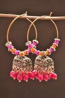 Pink orange tibetan pretty jhumka earrings