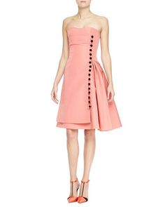 Strapless Taffeta Cocktail Dress with Button Front by Carolina Herrera at Neiman Marcus.