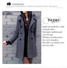 2015 Classic Women Basic Jacket Spring Winter Hooded Collar Slim Black Gray Wool Women's Jacket And on Luulla