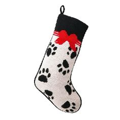 Pet Paw Prints and Bows Festive Needlepoint Christmas Stocking www.aloveofdogs.com