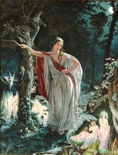 This is a painting done in watercolor on paper by John Simmons in 1861.  It is titled A Midsummer Night's Dream - Hermia & the fairies.  In the 1860's and early 1870's Simmons painted quite a few fantasy subjects,which showed fairies and mythical animals in woodland settings. Simmons' use of light and realism gives his paintings a life-like, or dream-like quality.