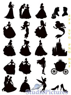 Disney Princess Silhouette, Disney Princess Party, Silhouette Art, Silhouette Projects, Silhouette Studio, Disney Diy, Disney Crafts, Button Art, Doodle Art