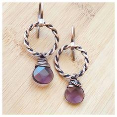 copper drop Earring, february birthstone jewelry, briolette Earring, wire wrapped jewelry design, wire amethyst Earring, copper hoop Earring, woven earring