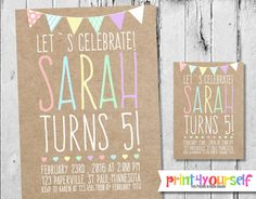 Lets Celebrate Craftpaper Birthday Invitation by Print4Yourself