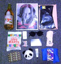 Love Hearts, Cheap Monday sunglasses, Topshop mag... Perfect bag contents