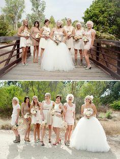 Bridesmaids dresses- short neutral