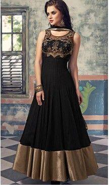 Black Color Georgette Anarkali Churidar Suit   FH459871824