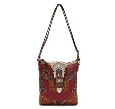 Cowgirl Trendy Western Scroll Art Crown Bling Buckle Conceal Carry Crossbody Bag - Red. Make a statement with this medium size womens country western style purse. This beautiful crossbody bag with silver studs and crystal accents adds a touch of sparkle to any wardrobe. Dimensions: 10 Inch wide x 10.5 inch tall x 1.5 inch thick, (it can fit a 10 inch tablet) with two outside pockets, one big enough to slide a smart phone. The other zippers closed for secured Conceal Carry. This purse will...