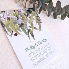 Letterpress invitation SAMPLE wedding by fluidinkletterpress