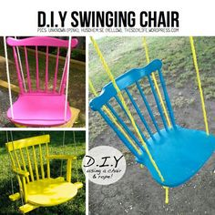 Love this diy swing, just found a chair for this...now to find the time!