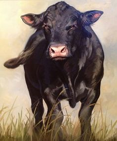 Leslie Peck-angus-bull_oil on Canvas Cow Paintings On Canvas, Farm Paintings, Animal Paintings, Animal Drawings, Bull Painting, Sketch Painting, Cow Pictures, Pictures To Paint, Cow Drawing