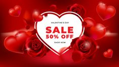 Valentines day sale background with roses and hearts Premium Vector Love Cover, Valentines Day, Roses, Hearts, Wallpaper, Ideas, Flower Iphone Wallpaper, Valentine's Day Diy, Pink