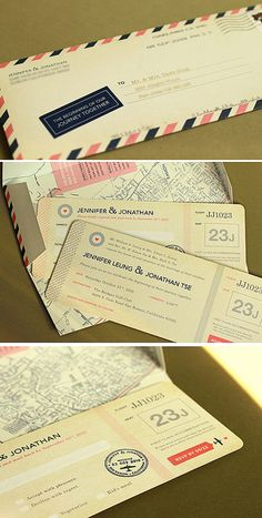 The invites came as boarding passes enclosed in a specially designed converted envelope. One of my favorite parts was that the map was printed on the inside of the envelope.
