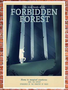 Retro Travel Poster Harry Potter The Forbidden by TeacupPiranha