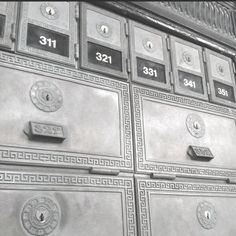 Old postal boxes. Still functional.
