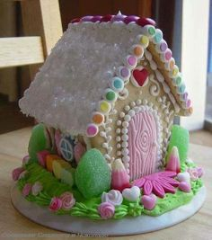 Spring gingerbread house, would be cute for Easter! needs some christmas color and makes a perfect Christmas cookie house. Christmas Gingerbread House, Christmas Cookies, Gingerbread Houses, Gingerbread Dough, Christmas Desserts, Christmas Traditions, Gingerbread Cookies, Merry Christmas Eve, Christmas Holidays