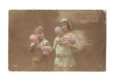 French Colorized Photo Postcard Easter Card by LaBelleEpoqueDeco