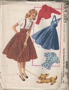 1955 Teen Suspender Full Skirt with Blouse and Jacket McCall's 3404 Size 12 Bust 32 UNCUT
