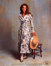 Laura Ashley 80s floral day dress photo print ad white grey blue