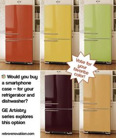 GE considers colorful, replaceable panels for its newest appliance series! ~ Would you buy a smartphone case -- for your refrigerator and dishwasher? GE Artistry series explores this option. GE-colorful-appliance-skins