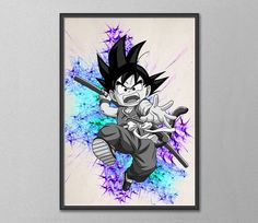 Goku Dragon Ball Anime Manga Watercolor Print Poster by AnimeShopZ