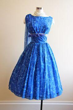 1950's Floral Print Chiffon Dress