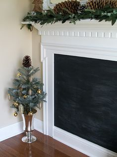 Chalkboard Fireplace (would be cool in the basement)
