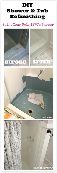 DIY shower and tub refinishing as scary as you may think! My old turquoise shower stall needed a facelift. Replacing the shower wou. Bathtub Remodel, Shower Remodel, Condo Remodel, Trailer Remodel, Diy Shower, Shower Tub, Shower Stalls, Large Shower, Bathtub Refinishing Kit
